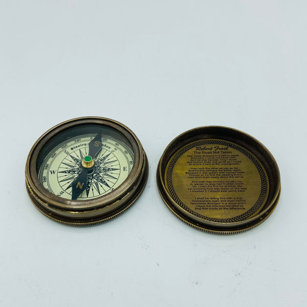"2.2"" Small Bronze Poem Compass in a wood box"