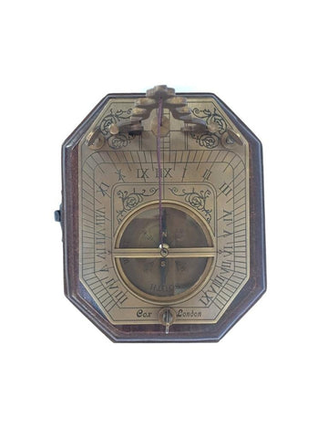 "Bronze 4"" Plumb-line Folding Sundial Compass in a wood box"