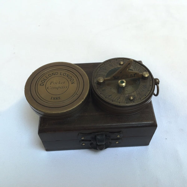 "Bronze 2"" Dolland Sundial Compass in a wood box"