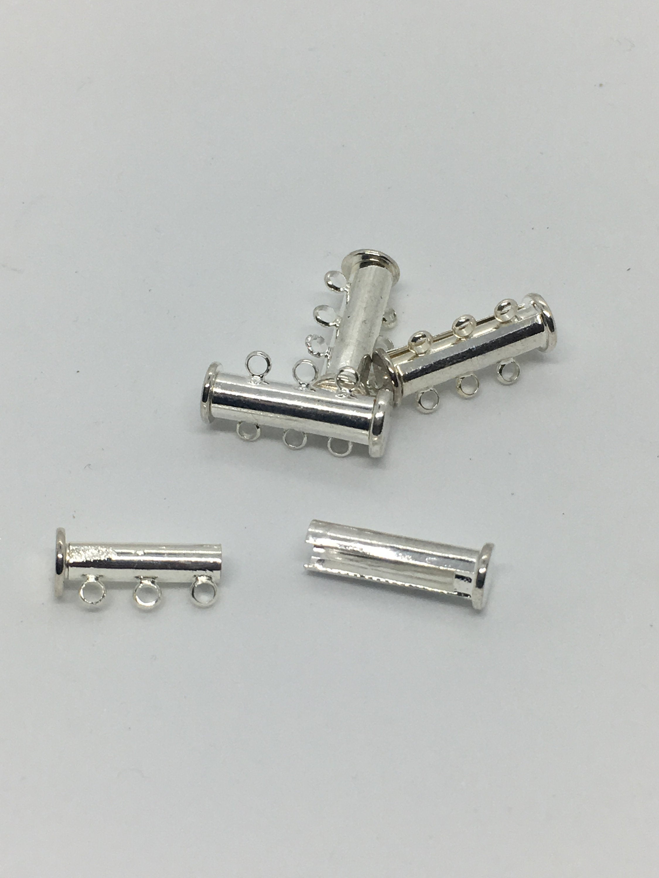 Silver Sliding Bar Clasp, Magnetic