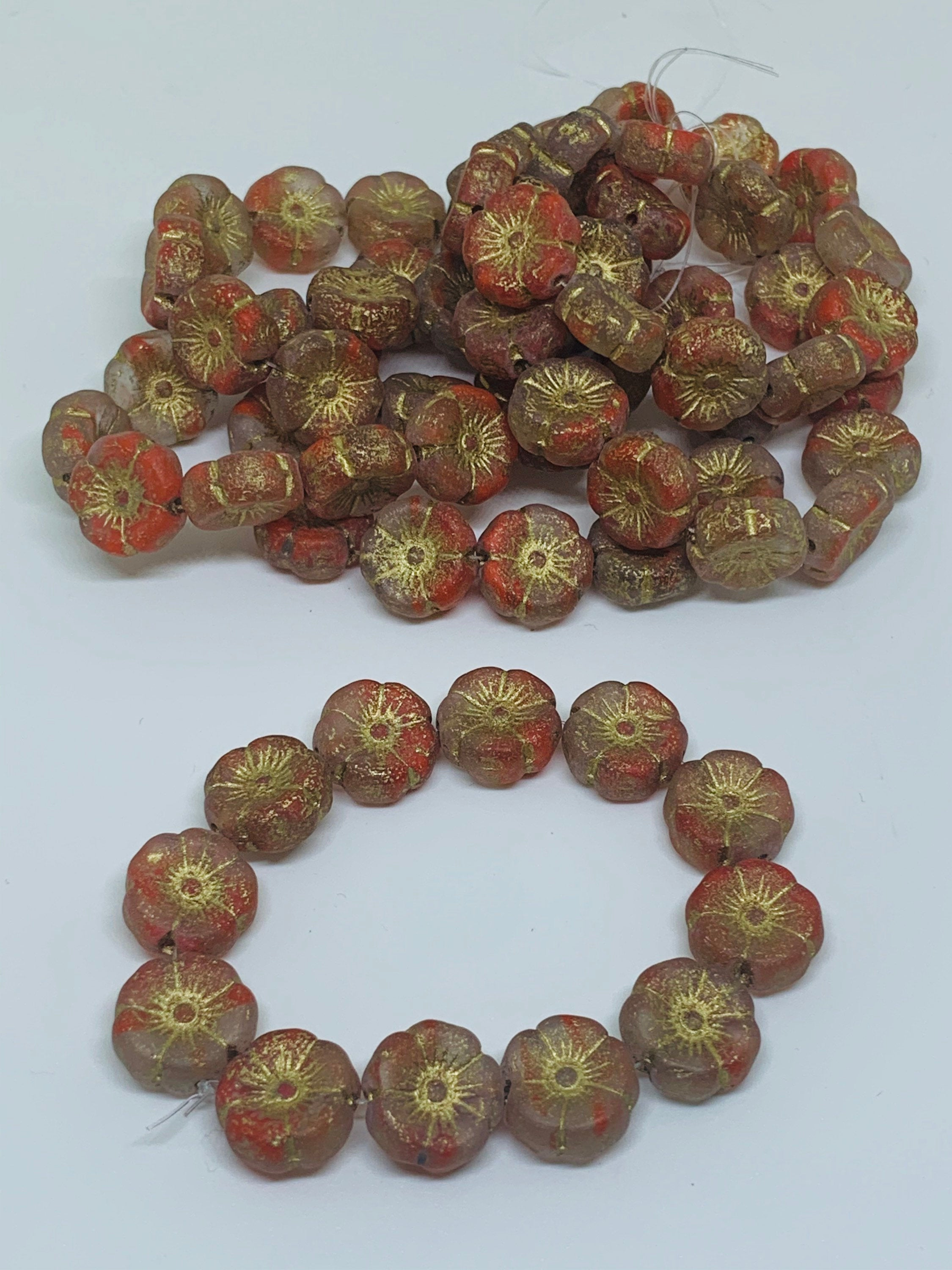 Hibiscus Czech glass floral beads