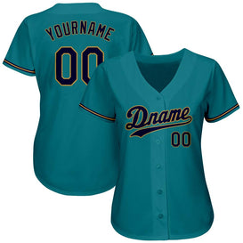 Custom Aqua Navy-Old Gold Authentic Baseball Jersey