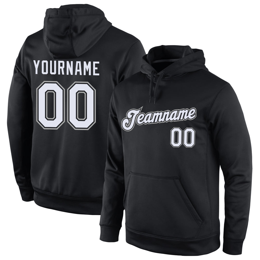 Custom Stitched Black White-Gray Sports Pullover Sweatshirt Hoodie