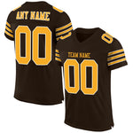 Custom Brown Gold-White Mesh Authentic Football Jersey