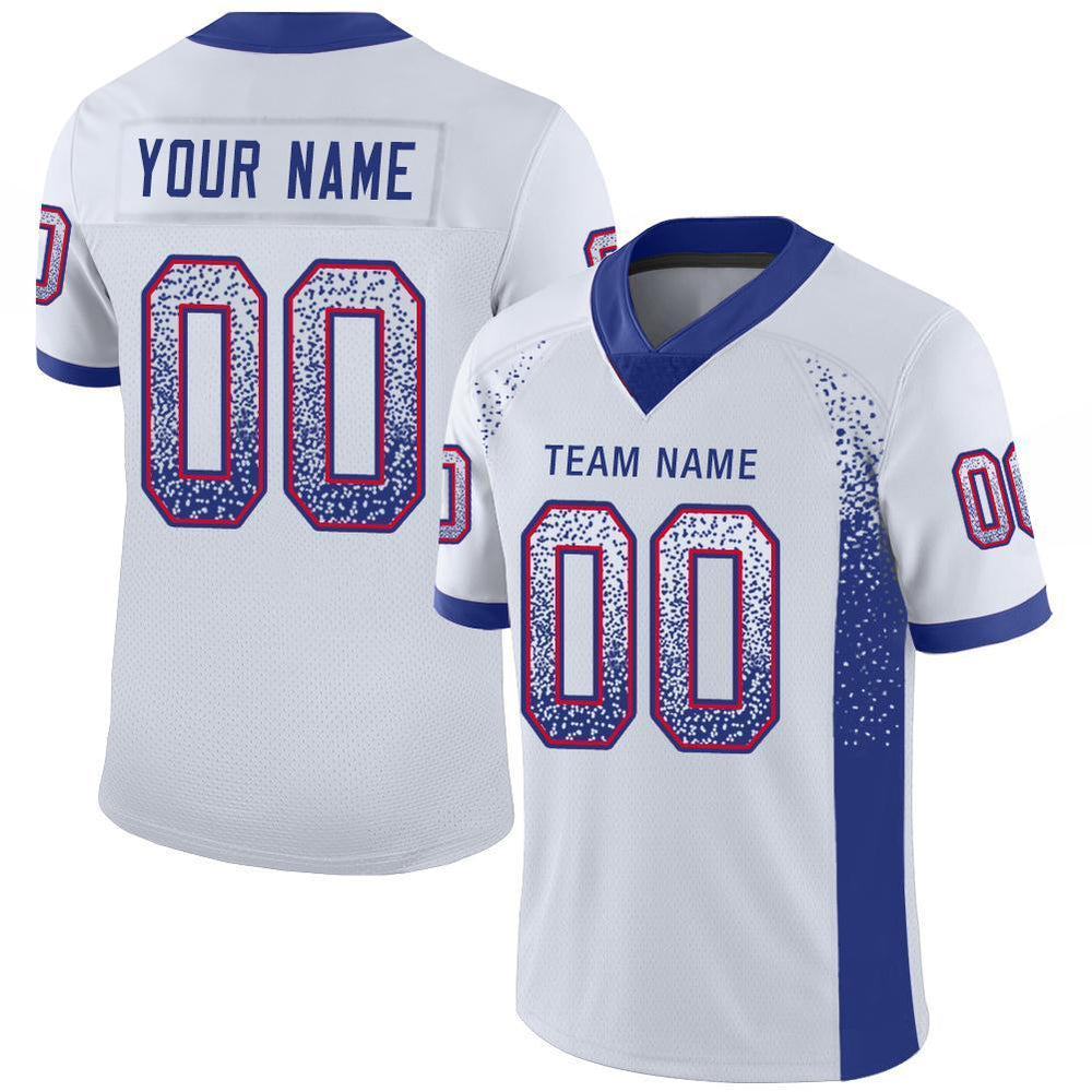 Custom White Royal-Red Mesh Drift Fashion Football Jersey