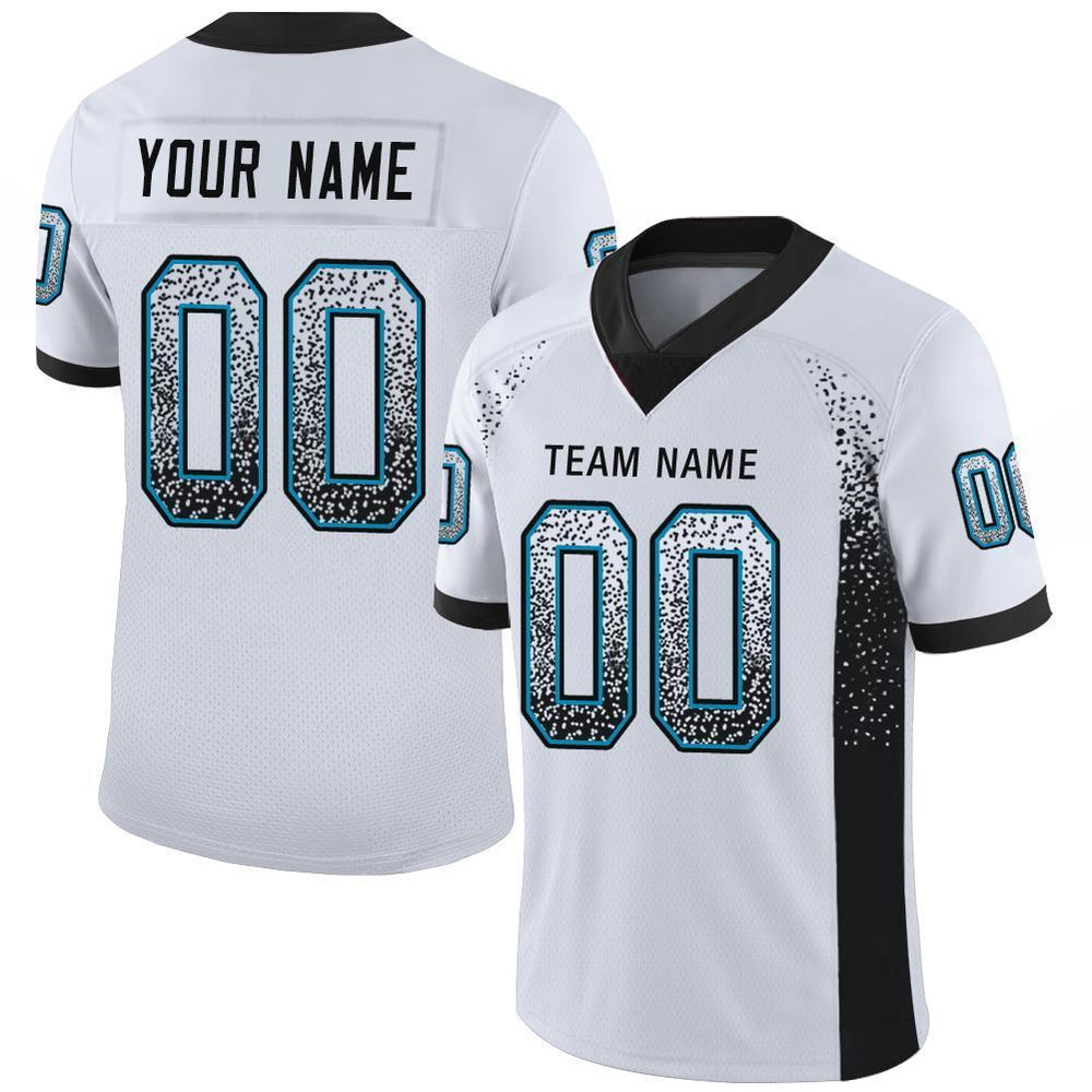 Custom White Black-Panther Blue Mesh Drift Fashion Football Jersey