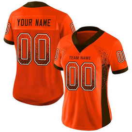 Custom Orange Brown-White Mesh Drift Fashion Football Jersey