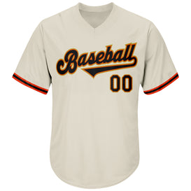 Custom Cream Black-Orange Authentic Throwback Rib-Knit Baseball Jersey Shirt