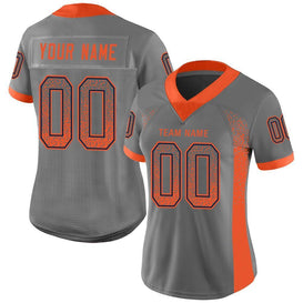 Custom Gray Orange-Navy Mesh Drift Fashion Football Jersey