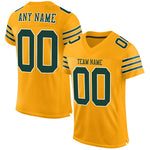 Custom Gold Green-White Mesh Authentic Football Jersey