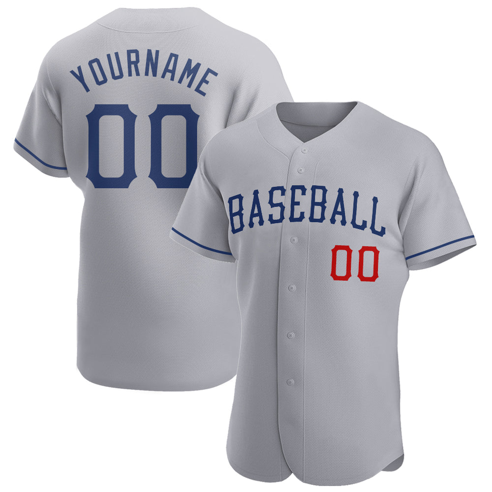 Custom Gray Royal-Red Authentic Baseball Jersey