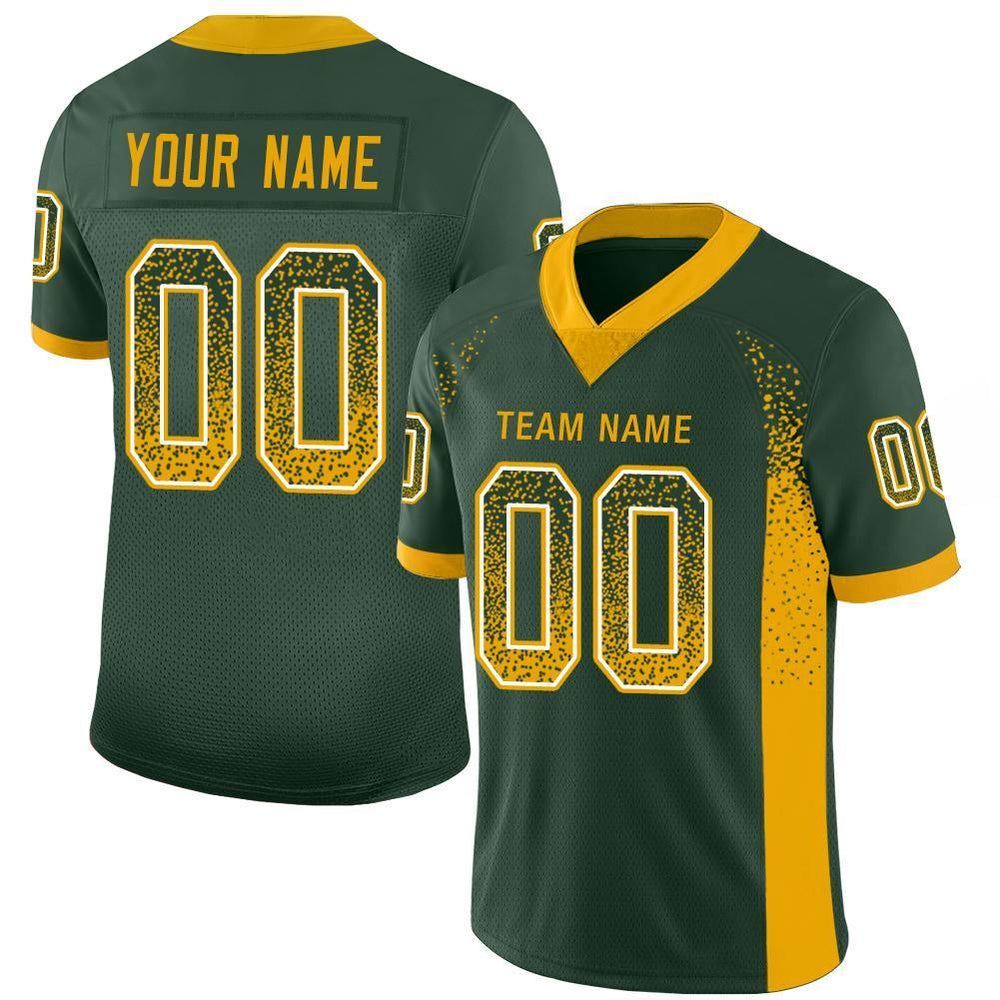 Custom Green Gold-White Mesh Drift Fashion Football Jersey
