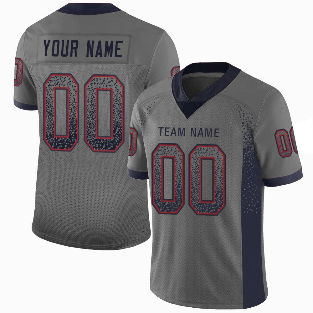 Custom Gray Navy-Red Mesh Drift Fashion Football Jersey