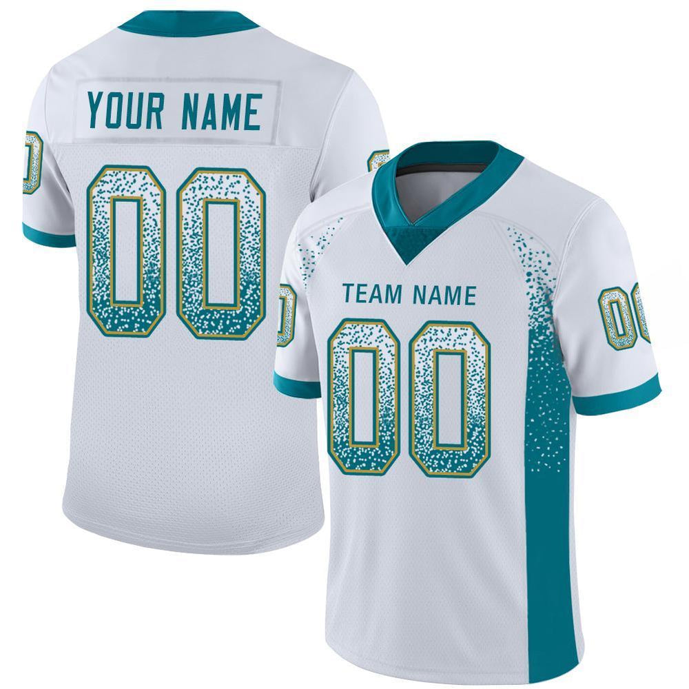 Custom White Teal-Old Gold Mesh Drift Fashion Football Jersey