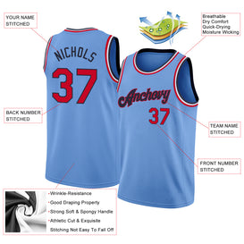 Custom Light Blue Red-Navy Round Neck Rib-Knit Basketball Jersey