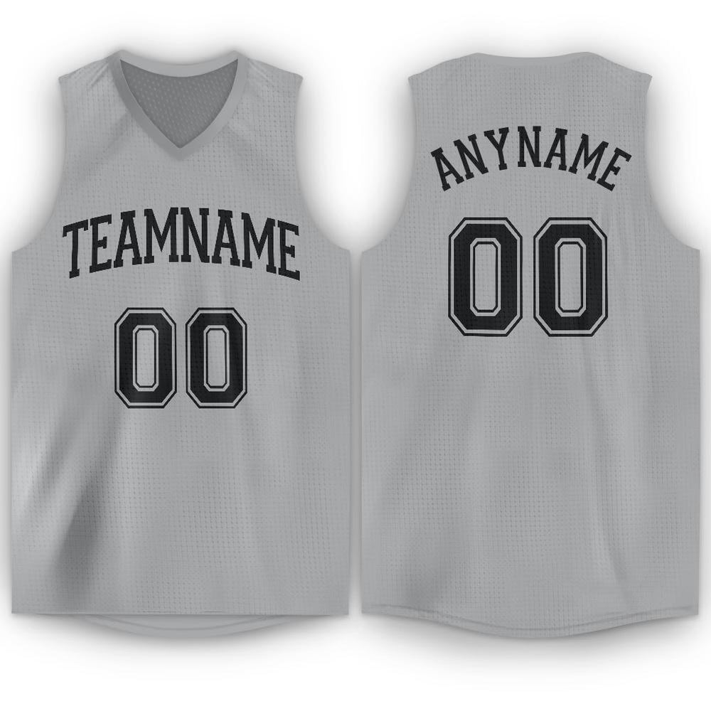 Custom Silver Gray Black V-Neck Basketball Jersey
