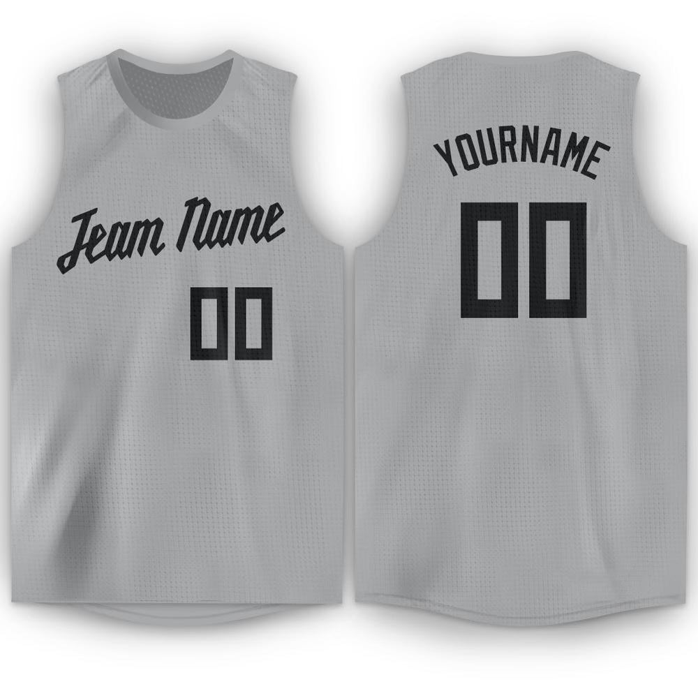 Custom Silver Gray Black Round Neck Basketball Jersey