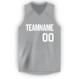 Custom Silver Gray White V-Neck Basketball Jersey