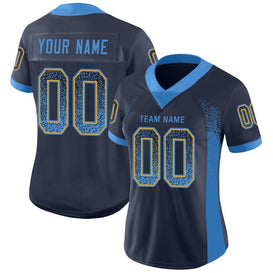 Custom Navy Powder Blue-Gold Mesh Drift Fashion Football Jersey