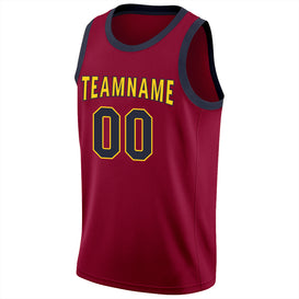Custom Maroon Navy-Gold Round Neck Rib-Knit Basketball Jersey