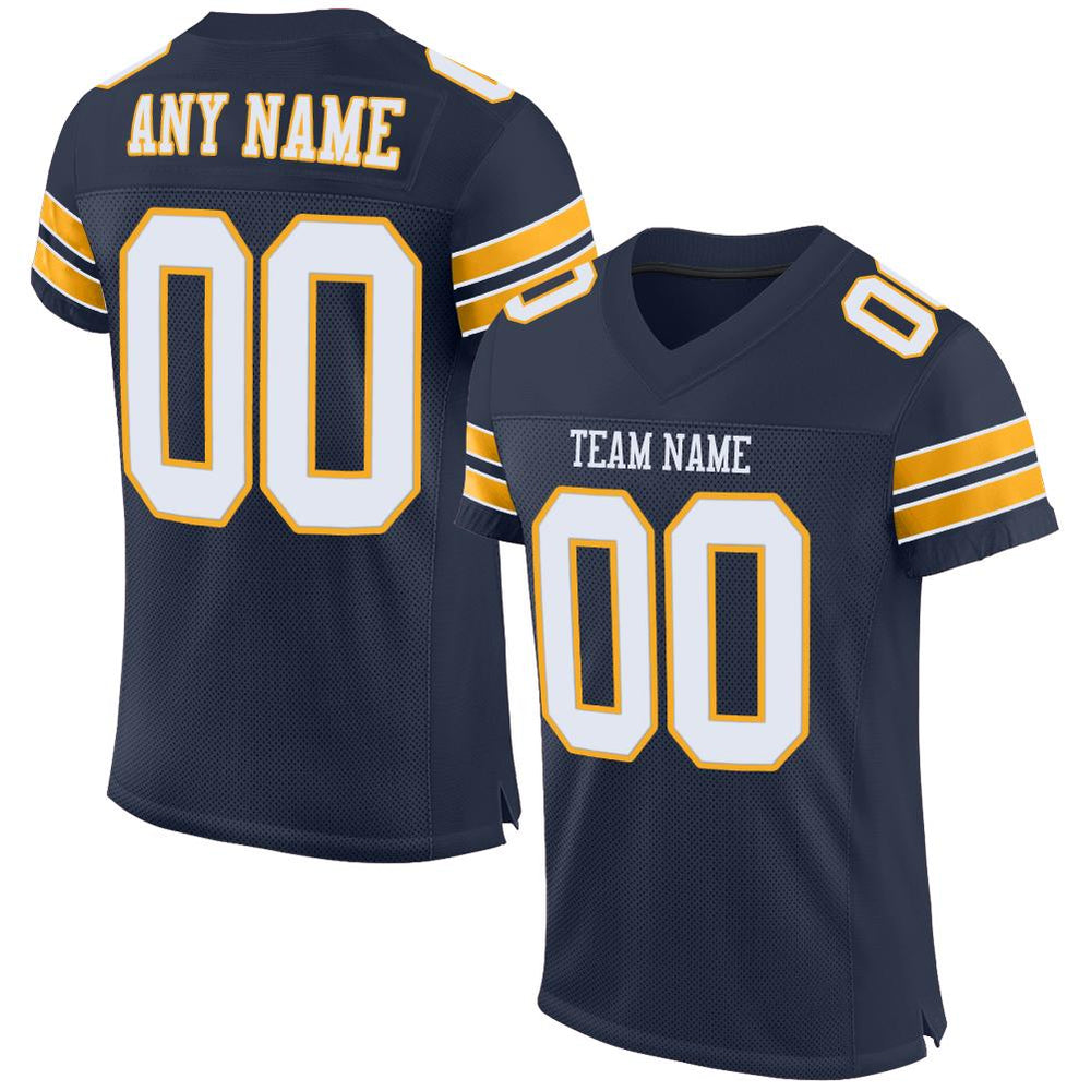 Custom Navy White-Gold Mesh Authentic Football Jersey