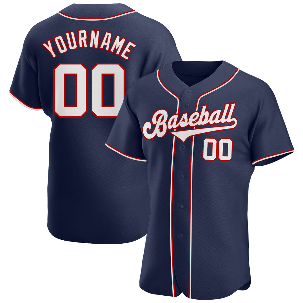 Custom Navy White-Red Authentic Baseball Jersey