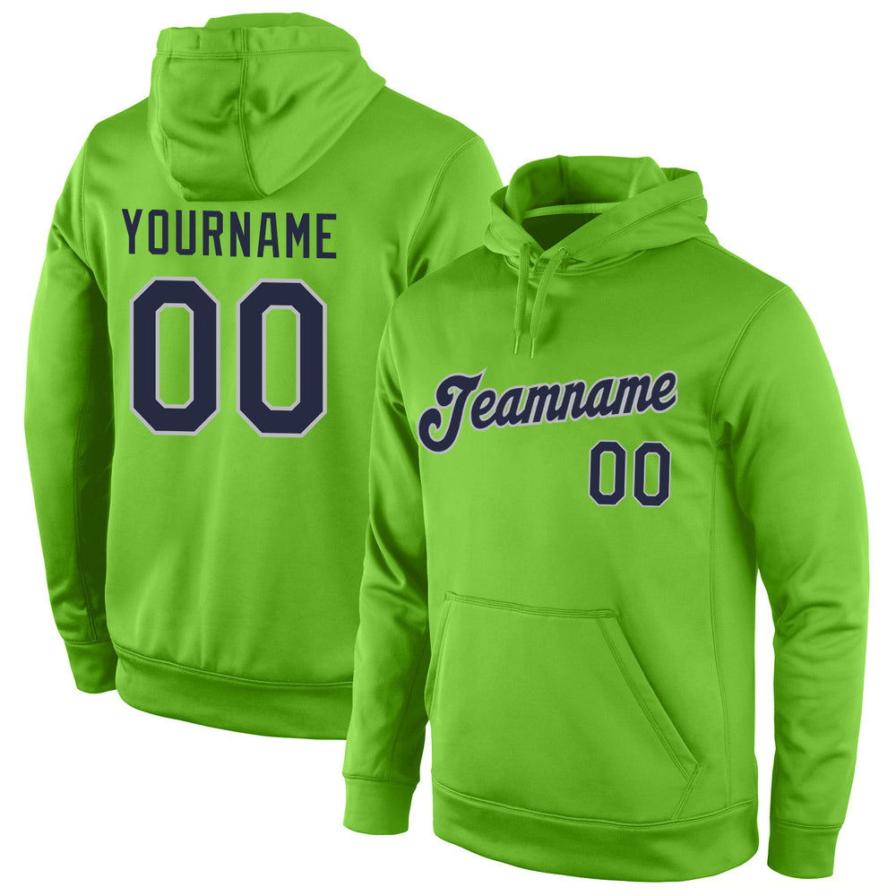 Custom Stitched Neon Green Navy-Gray Sports Pullover Sweatshirt Hoodie