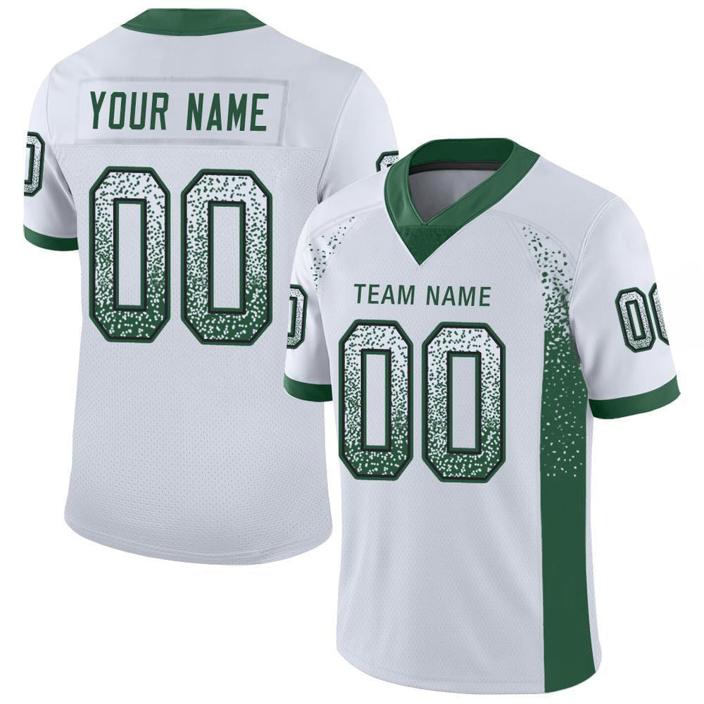 Custom White Gotham Green-Black Mesh Drift Fashion Football Jersey