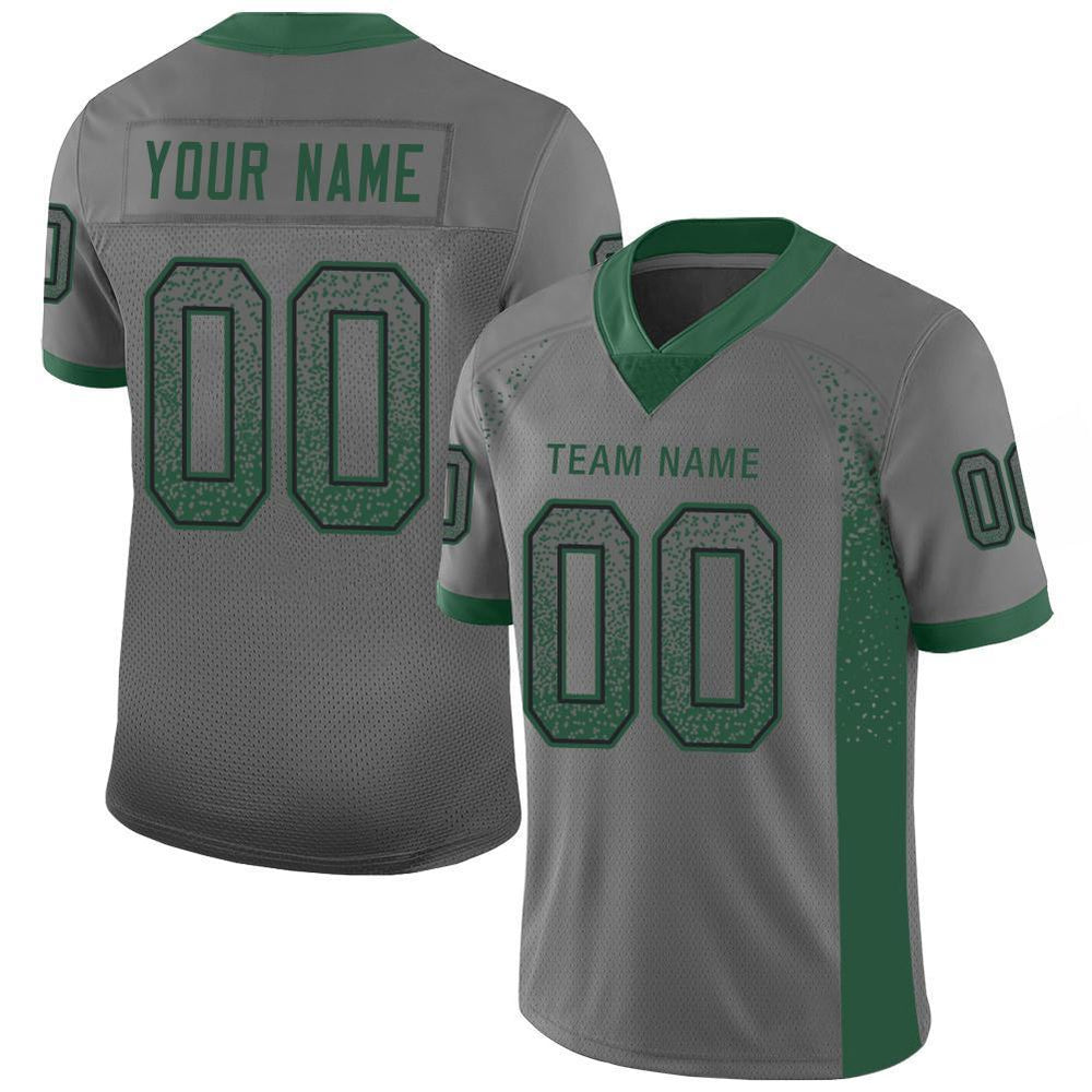 Custom Gray Gotham Green-Black Mesh Drift Fashion Football Jersey