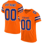 Custom Orange Royal-White Mesh Authentic Football Jersey