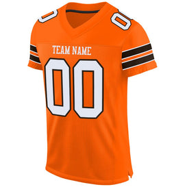 Custom Orange White-Brown Mesh Authentic Football Jersey