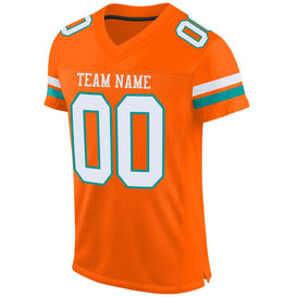Custom Orange White-Aqua Mesh Authentic Football Jersey
