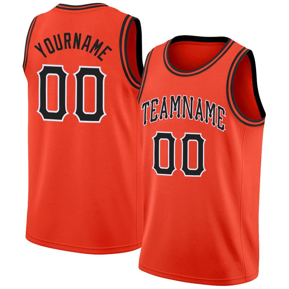 Custom Orange Black-White Round Neck Rib-Knit Basketball Jersey