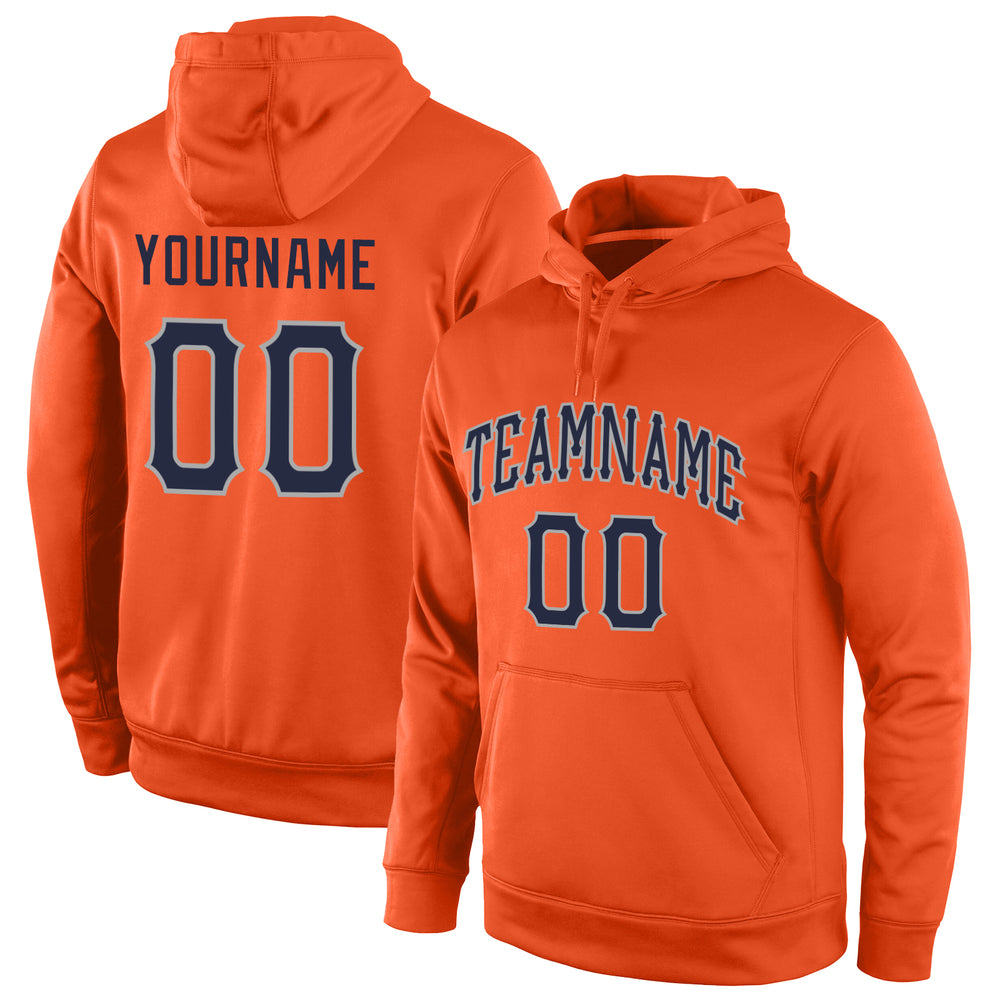 Custom Stitched Orange Navy-Gray Sports Pullover Sweatshirt Hoodie