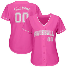 Custom Pink White Authentic Baseball Jersey