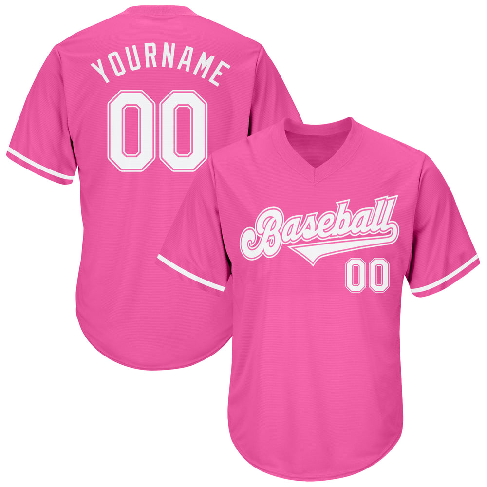Custom Pink White Authentic Throwback Rib-Knit Baseball Jersey Shirt