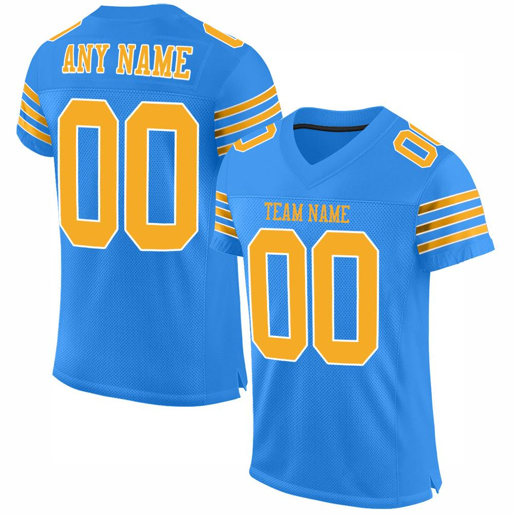 Custom Powder Blue Gold-White Mesh Authentic Football Jersey