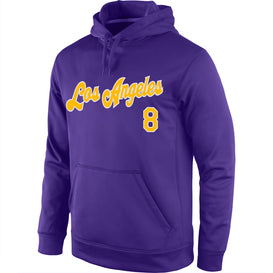 Classic Stitched Purple Gold-White Sports Pullover Sweatshirt Hoodie