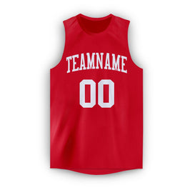 Custom Red White Round Neck Basketball Jersey