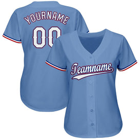 Custom Light Blue White-Red Baseball Jersey