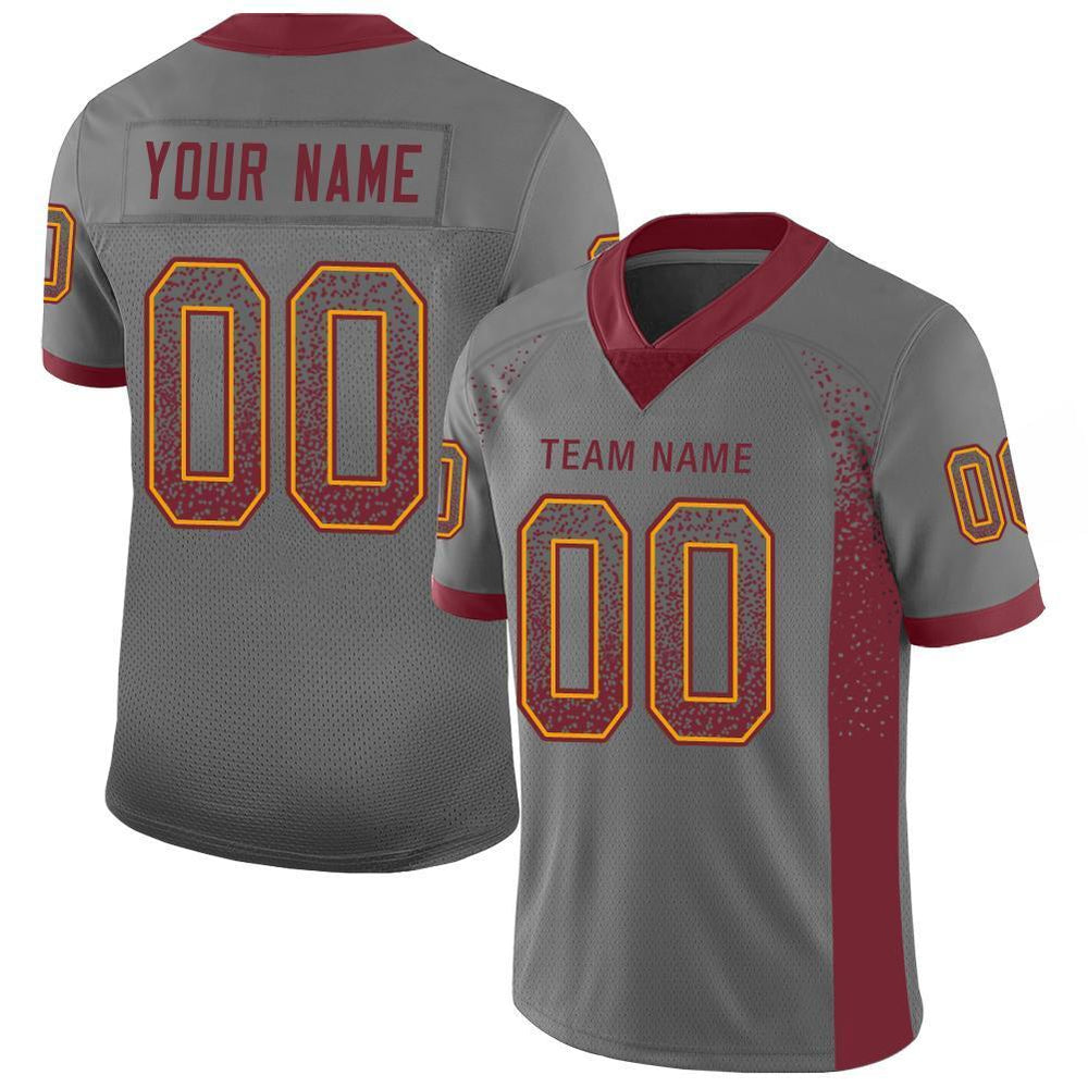Custom Gray Burgundy-Gold Mesh Drift Fashion Football Jersey