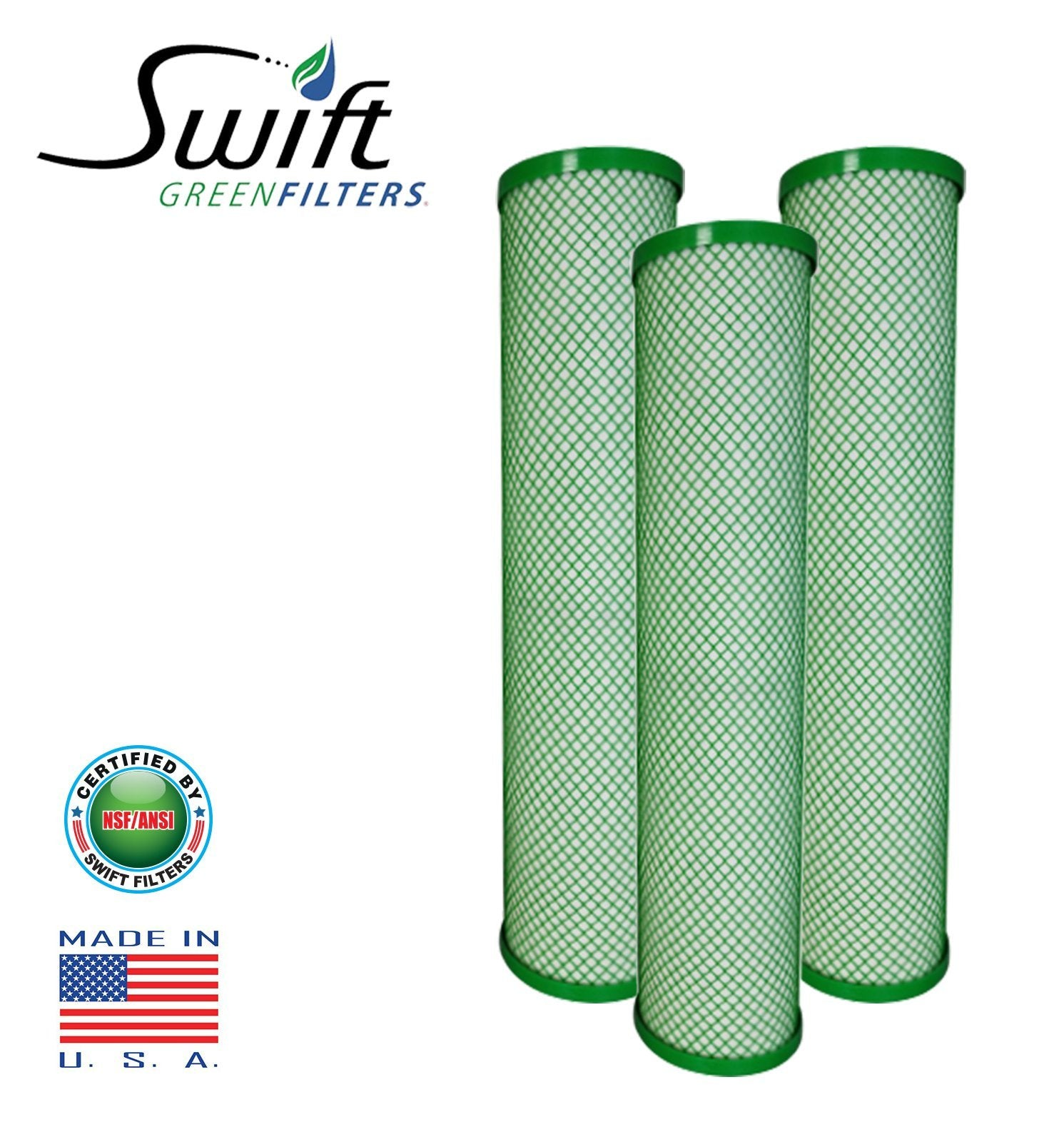 "Swift (SGFB10Pb1) Replaces Filtrex FXB10PB1 9.75""x 4.5"" LEAD/CYST Green Block Carbon 1 Micron Filter - The Filters Club"