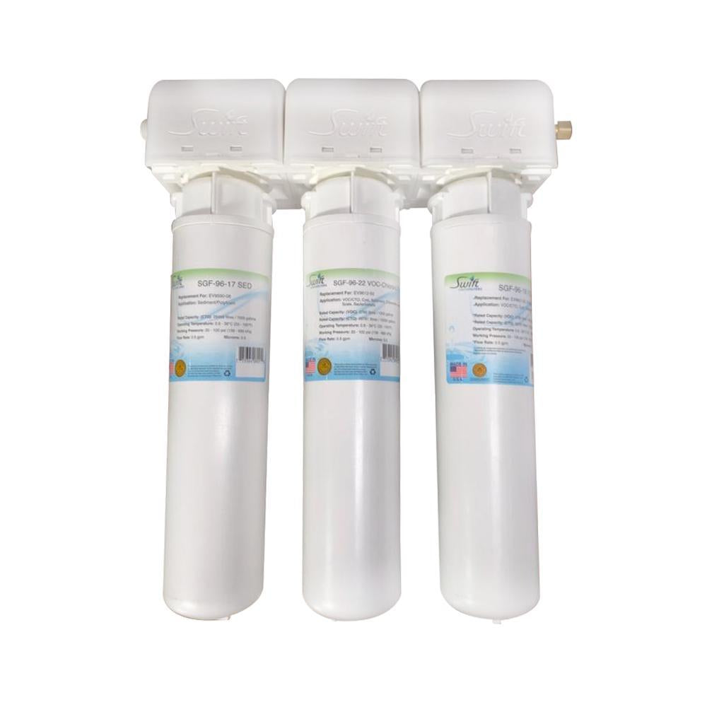 SGF3-17MAX-Rx-3 (Triple Candle System) Multi stage Under the Sink System with ultra high Capacity,Direct Connect Fittings-Removes VIRUS ,VOC, Chlorine,Arsenic, Lead,Heavy metals,CTO and Sediment - The Filters Club