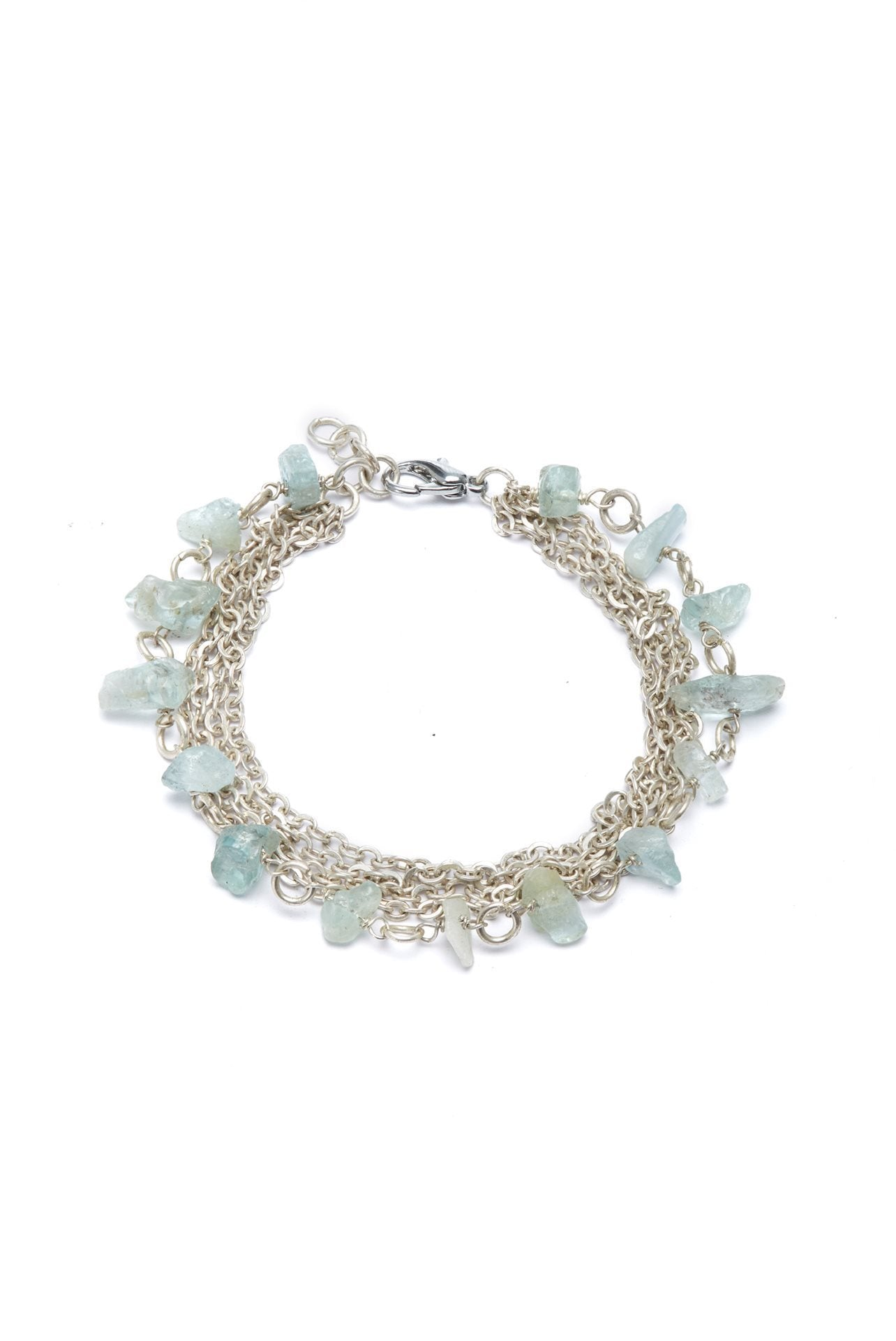 Aquamarine Bracelet with Silver Chains