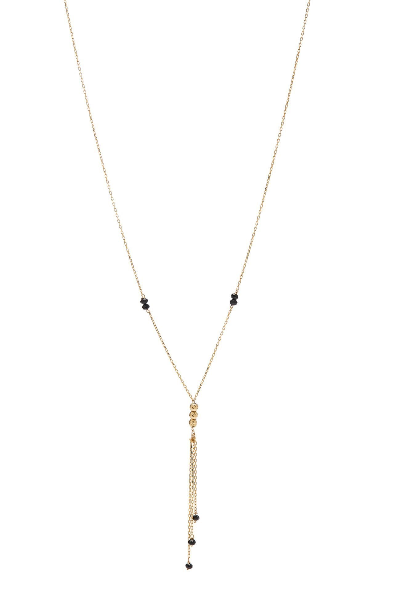 18K Necklace with Black Beads