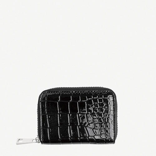HVISK Wallet Zipper Croco Sort