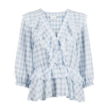 Indlæs billede til gallerivisning NEO NOIR Beasoa Soft Check Blouse Light Blue