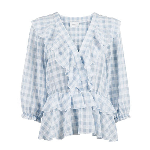 NEO NOIR Beasoa Soft Check Blouse Light Blue