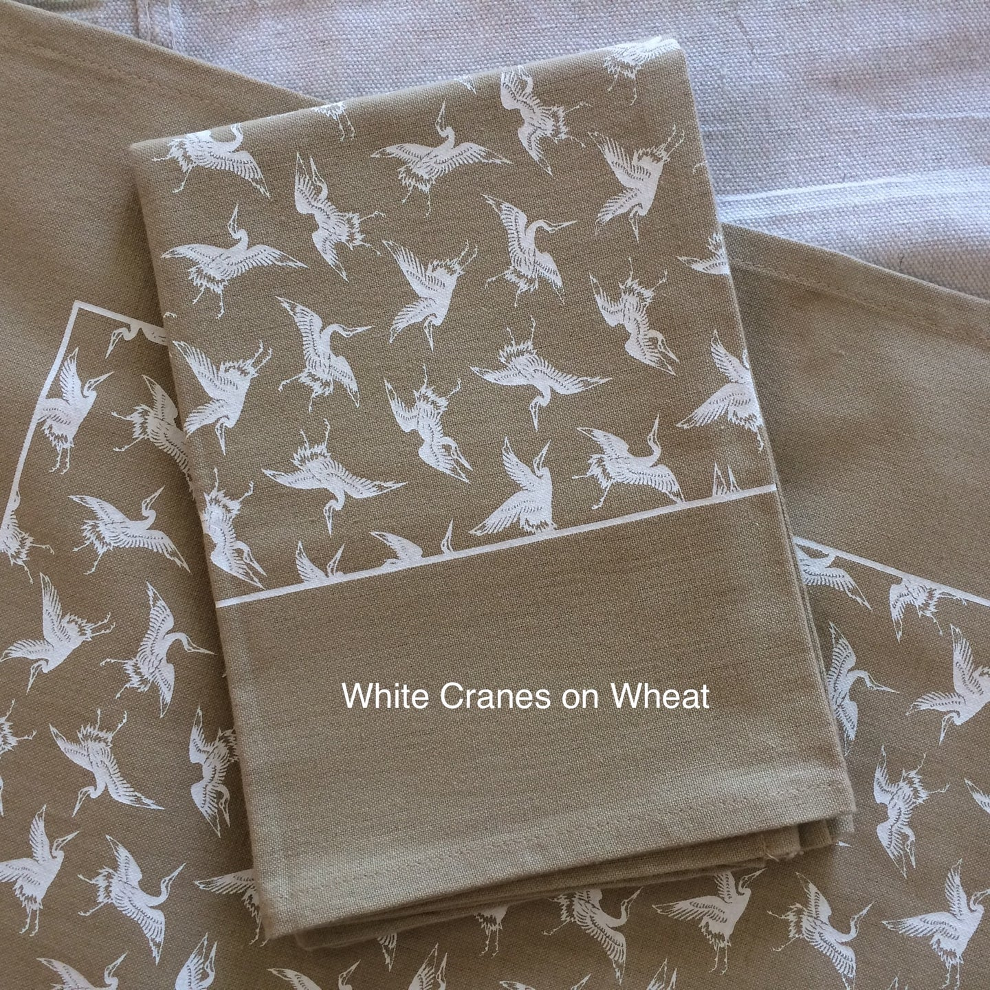 White Cranes Tea Towel