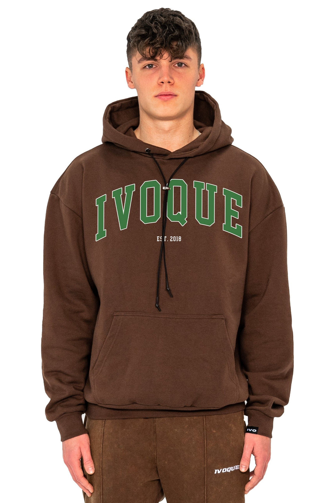 HOODIE COLLEGE GREEN LOGO MOCCA BROWN